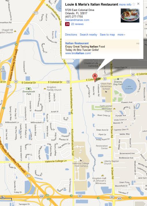 Louie & Maria's Italian Restaurant 9728 East Colonial Drive Orlando, FL 32817
